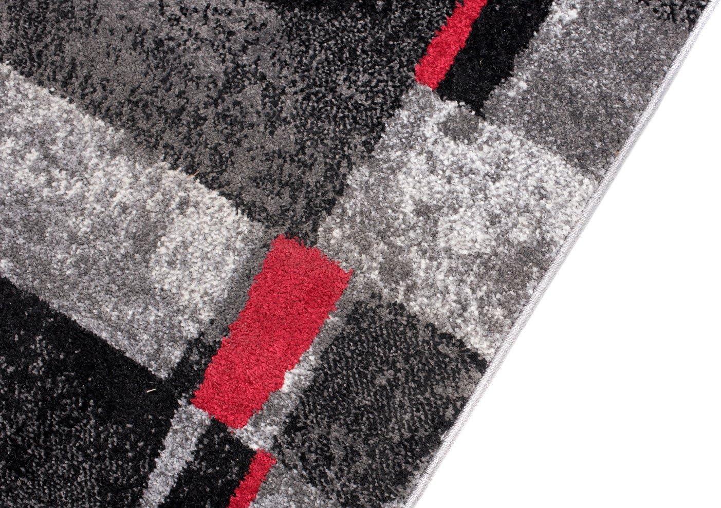 Migliore qualit/à Colore Antracite Grigio Rosso Motivo Quadrato Tappeto Passatoia per Corridoio Moderno Collezione Twist Diverse Misure S-XXXL 70 x 50 cm