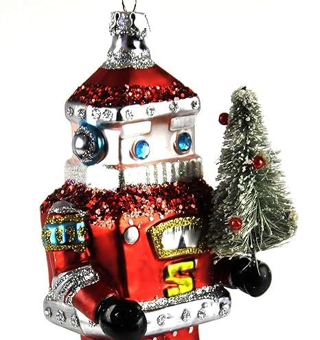 Gisela Graham Christmas Vintage Glass Robot Bauble Tree Decoration - Gisela Graham Christmas Vintage Glass Robot Bauble Tree Decoration