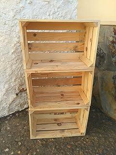 lote de cajas madera de pino natural tipo frutas vintage