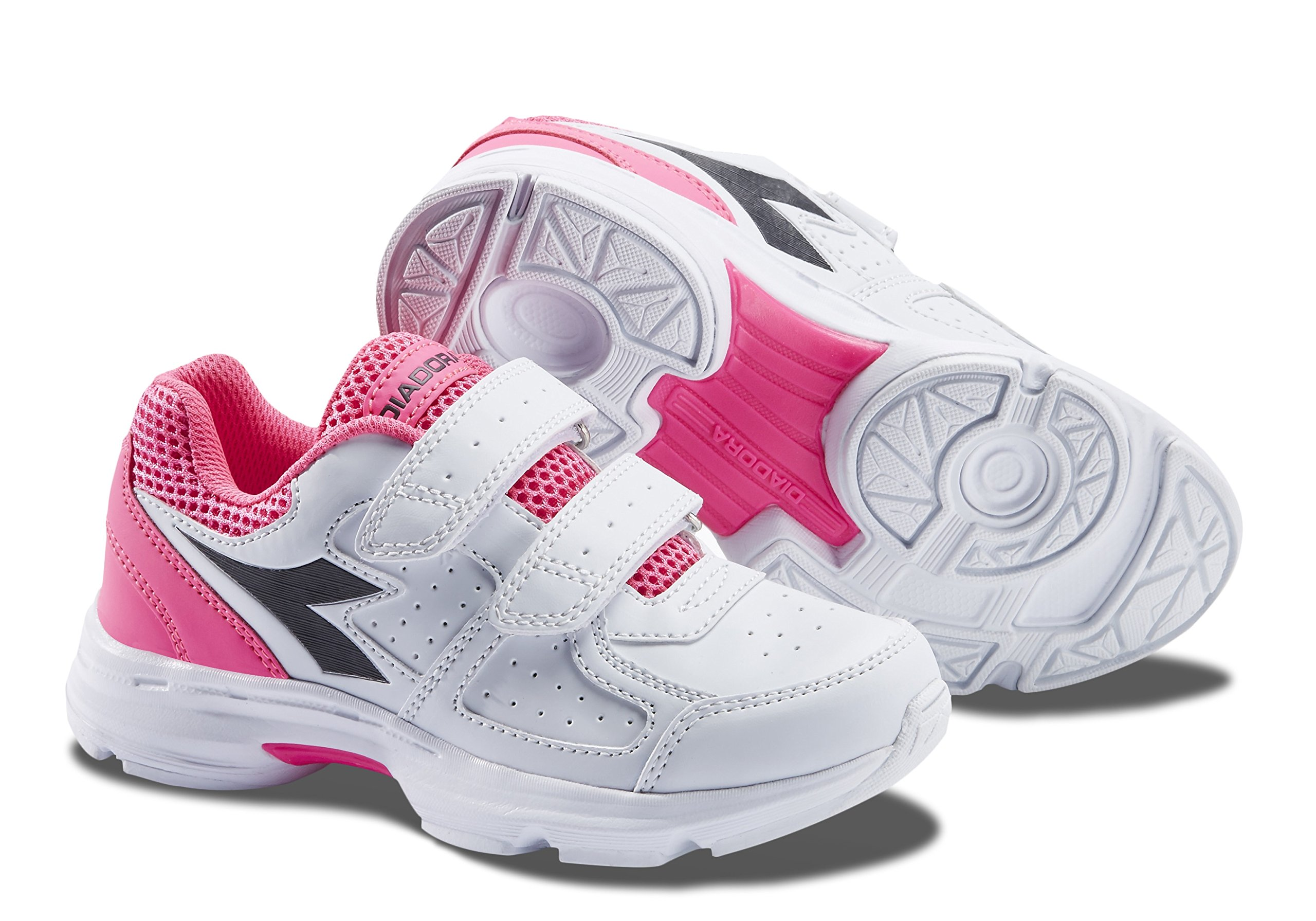 Diadora Shape 8 V JR Kids Running Shoe (5, White Pink)