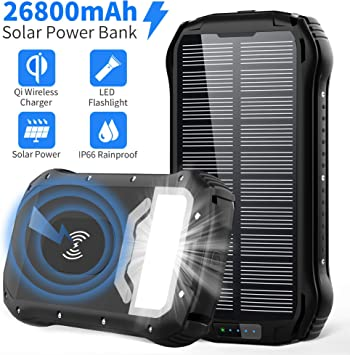 Solar Power Bank 26800mAh Cargador Solar Batería Externa Móvil+4 ...
