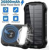 Solar Power Bank 26800mAh Cargador Solar Batería Externa Móvil+4 Salida Puerto:Carga Rapida Tipo C/QI Carga Inalámbrico/Max 3.1A+4 Modo Iluminación:SOS Linterna+18 LED+Impermeable para iPad Smartphone