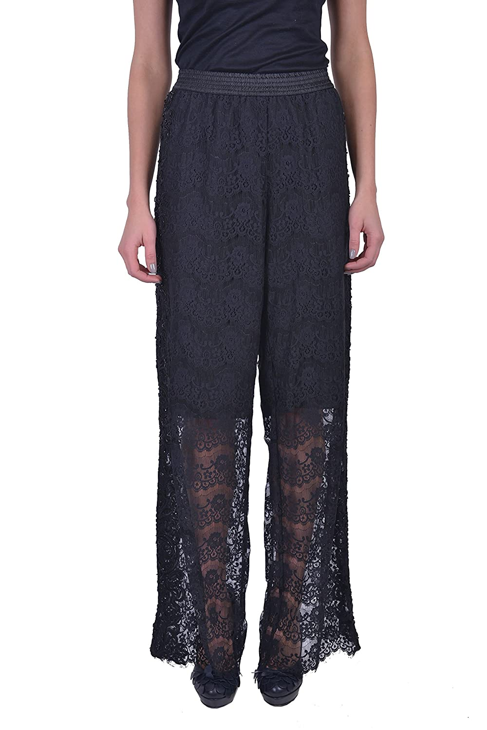 Just Cavalli Women's Black Embroidered Lace Wide Leg Pants US 4 IT 40