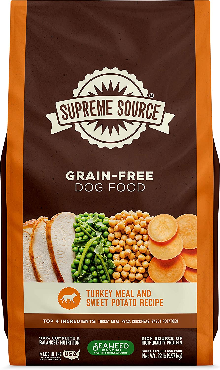 Supreme Source Premium Dry Dog Food Grain Free, USDA Organic Seaweed, Protein, Turkey Meal Sweet Potato Recipe for All Life Stages. Made in The USA.
