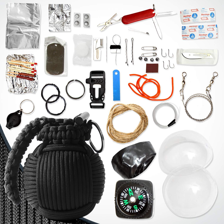 Holtzman's Survival Kit Paracord Grenade The #1 Best 48 Tool Emergency kit (Solid Black) by Holtzman's Gorilla Survival (Image #8)