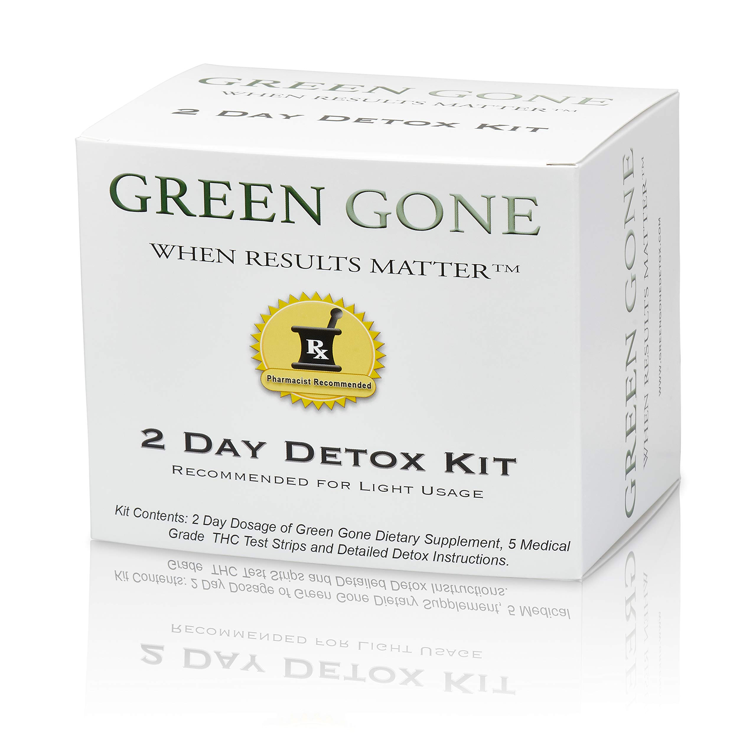 Green Gone 2 Day THC (Marijuana) Detox Kit - Permanent Cleanse, (for Light Usage) with 5 THC Test Strips!