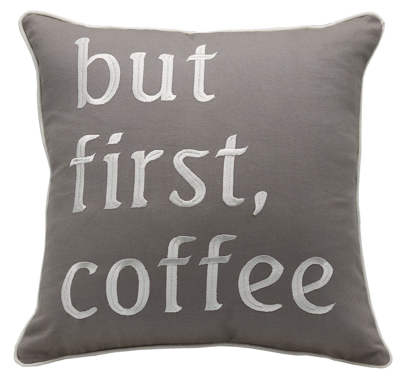 YugTex Pillowcases But First Coffee 14x14 Embroidered Throw Pillow Cover Coffee Lovers Gift Coffee Shop Cushion Cover Wedding Anniversary Couple Lovers Cushion Cover