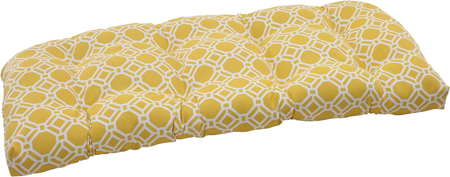 Pillow Perfect Outdoor Rossmere Wicker Loveseat Cushion, Yellow