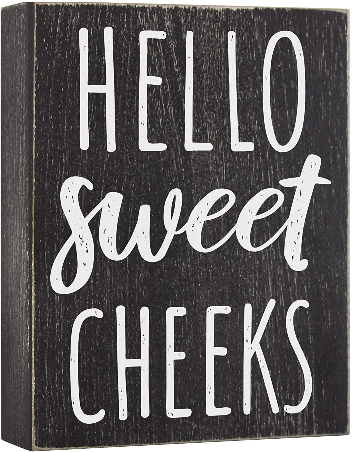Hello Sweet Cheeks Wood Sign - Farmhouse Bathroom Decorations - 6x8 Wooden Box Plaque Decor with Funny Saying