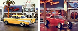 Chevy Bel Air Classic Vintage Red Roadster Ford At Cafe Diner Car Two Set 8x10 Picture Wall Decor Art Print Posters