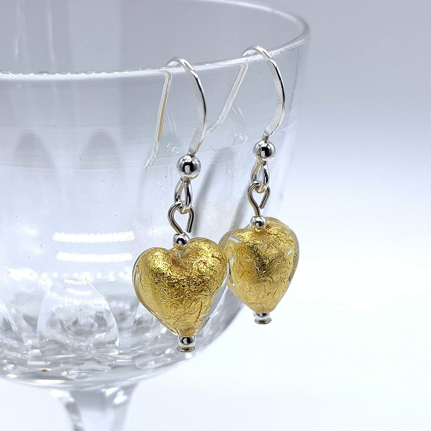 pale Diana Ingram earrings with light gold Murano glass mini heart drops on Sterling Silver or 22 Carat gold vermeil hooks