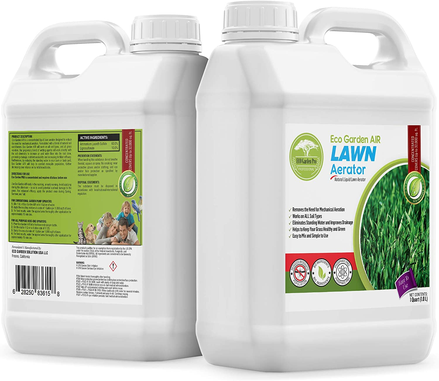 Eco Garden PRO Liquid Lawn Aerator - Liquid Conditioner | Treatment | Loosener | Improves Lawn Aeration & Drainage | Alternative to Manual Lawn Aerators - 1 Quart