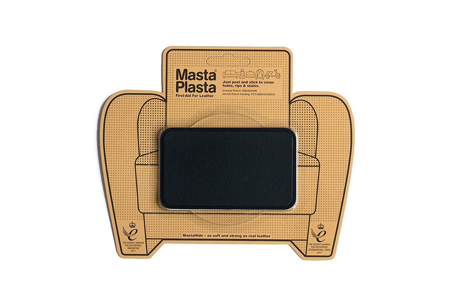 Black MastaPlasta Self-Adhesive Leather Repair Patches. Choose size/design. First-aid for sofas, car seats, handbags, jackets etc. (BLACK SMALL CIRCLE 5cmx5cm) MastaPlasta Ltd MPSCIRCLEBL