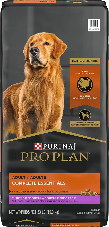 Purina Pro Plan High Protein Dog Food with Probiotics for Dogs, Shredded Blend Turkey & Rice Formula - 33 lb. Bag