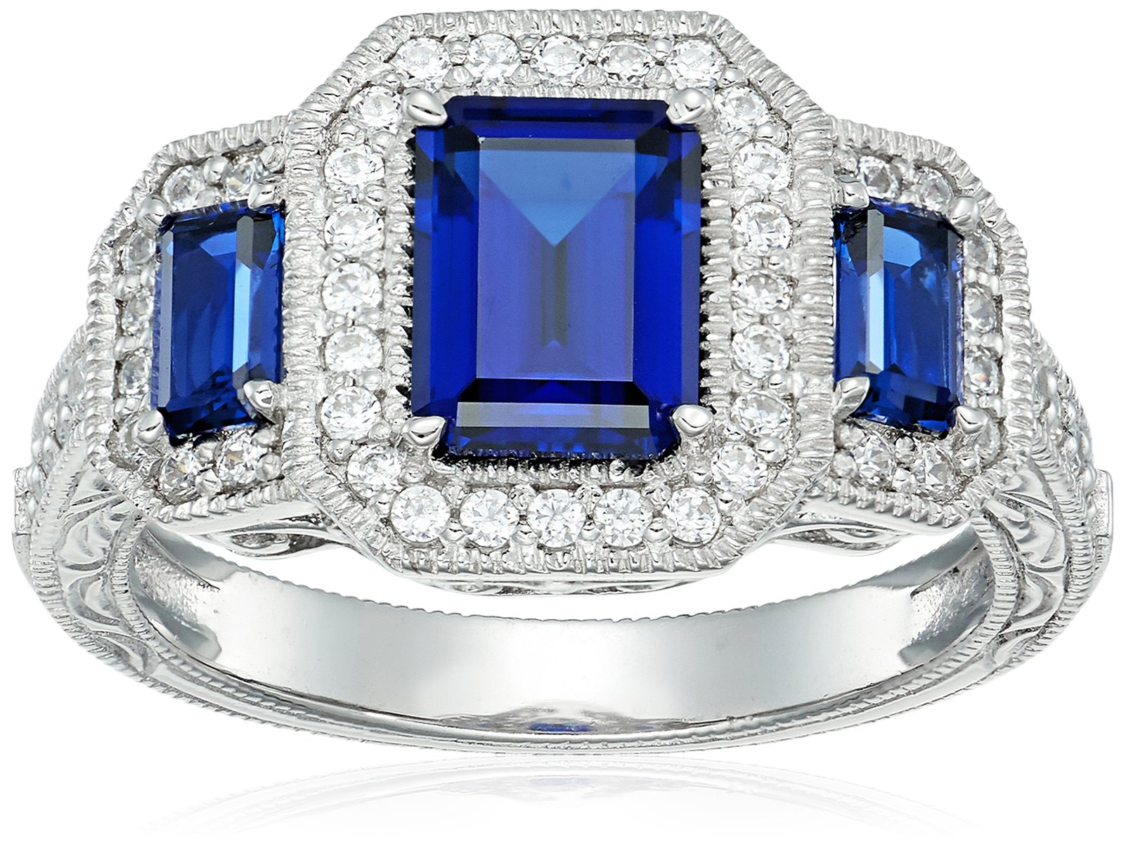 Platinum Plated Sterling Silver Created Sapphire 3-Stone Vintage Style Band Swarovski Zirconia Accents Ring, Size 7