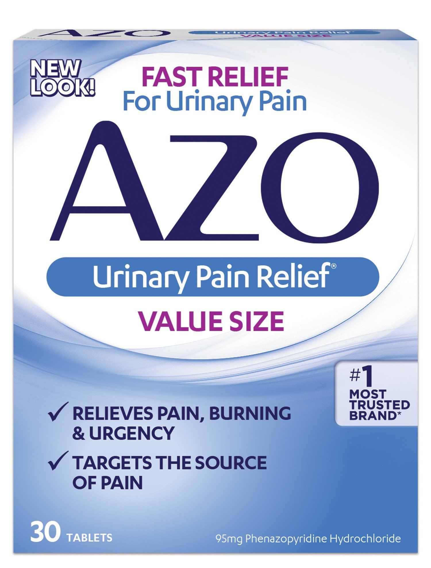 AZO Urinary Pain Relief Value Size |with Phenazopyridine Hydrochloride |Fast Relief | Relieves UTI Pain,Burning & Urgency | Targets The Source of Pain | #1 Most Trusted Brand | 30 Tablets | Pack of 3 by AZO