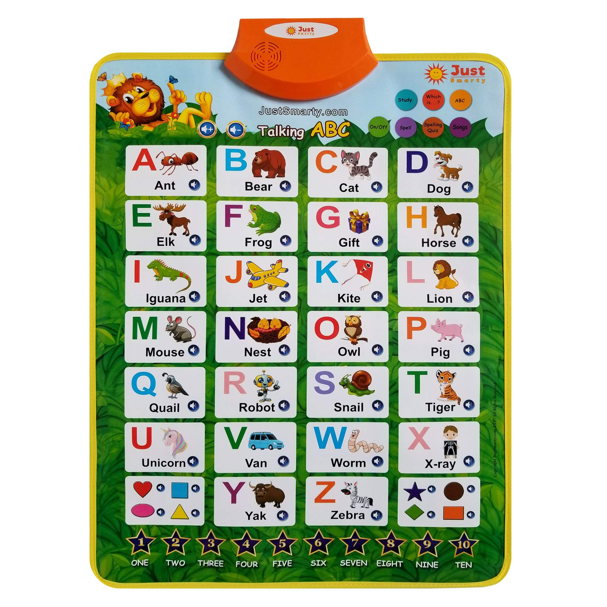 Just Smarty Electronic Interactive Alphabet Wall Chart with Shapes, Colors and Spelling, Talking ABC & 123s & Music Poster, Best Educational Toy for Toddler. Kids Fun Learning at Daycare, Preschool