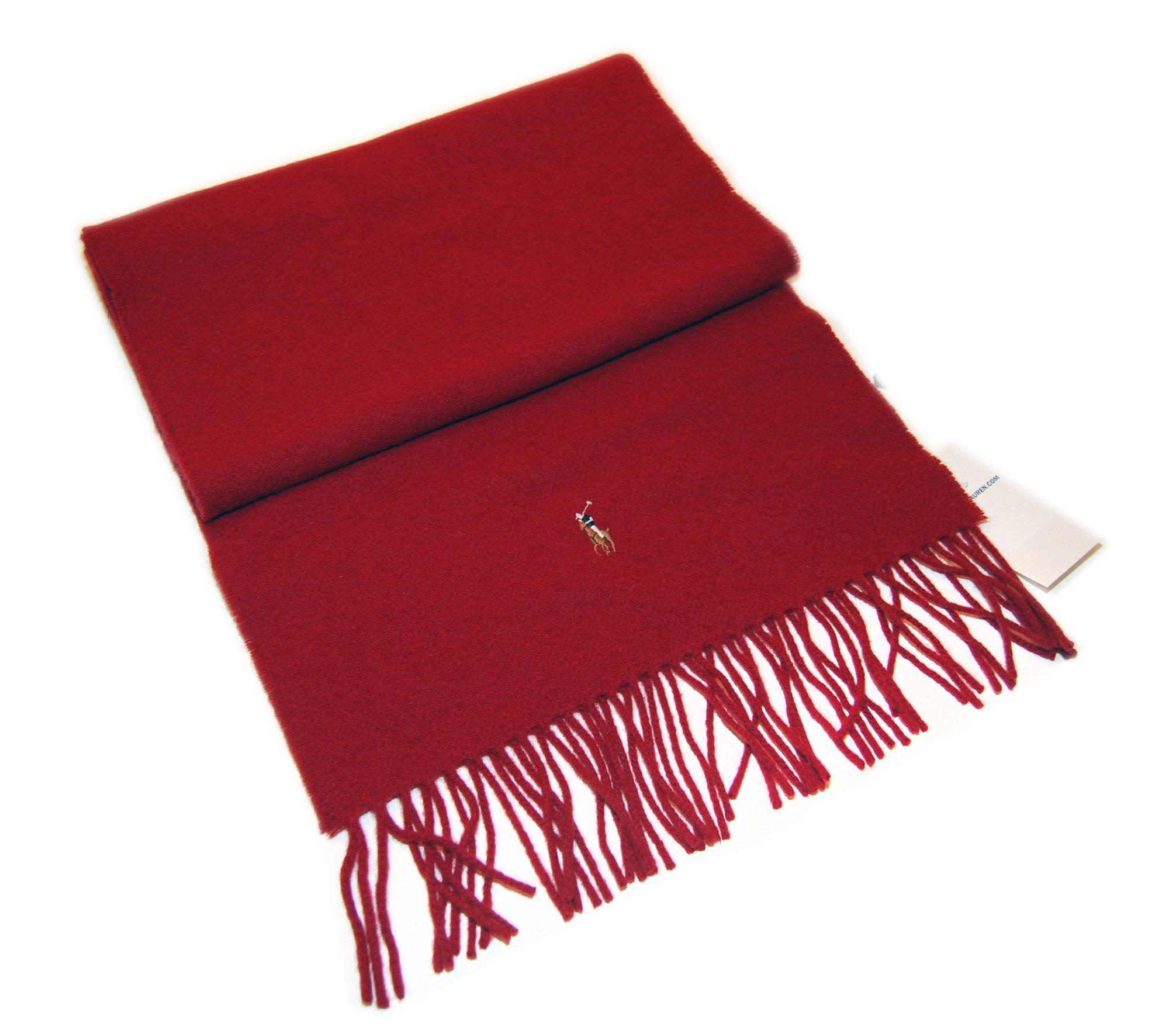 Polo Ralph Lauren Mens Womens Pony Tweed Lambswool Neck Jacket Scarf Dark Red