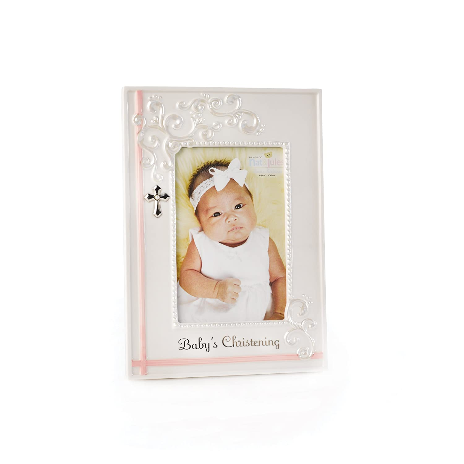 Nat and Jules Baby's Christening Frame, Pink N00377