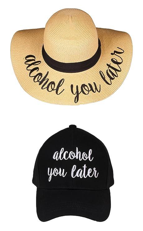 38d430edc4a Amazon.com  H-1718-AYL-06 Sunhat Ball Cap Bundle - Alcohol You Later -  Black  Clothing