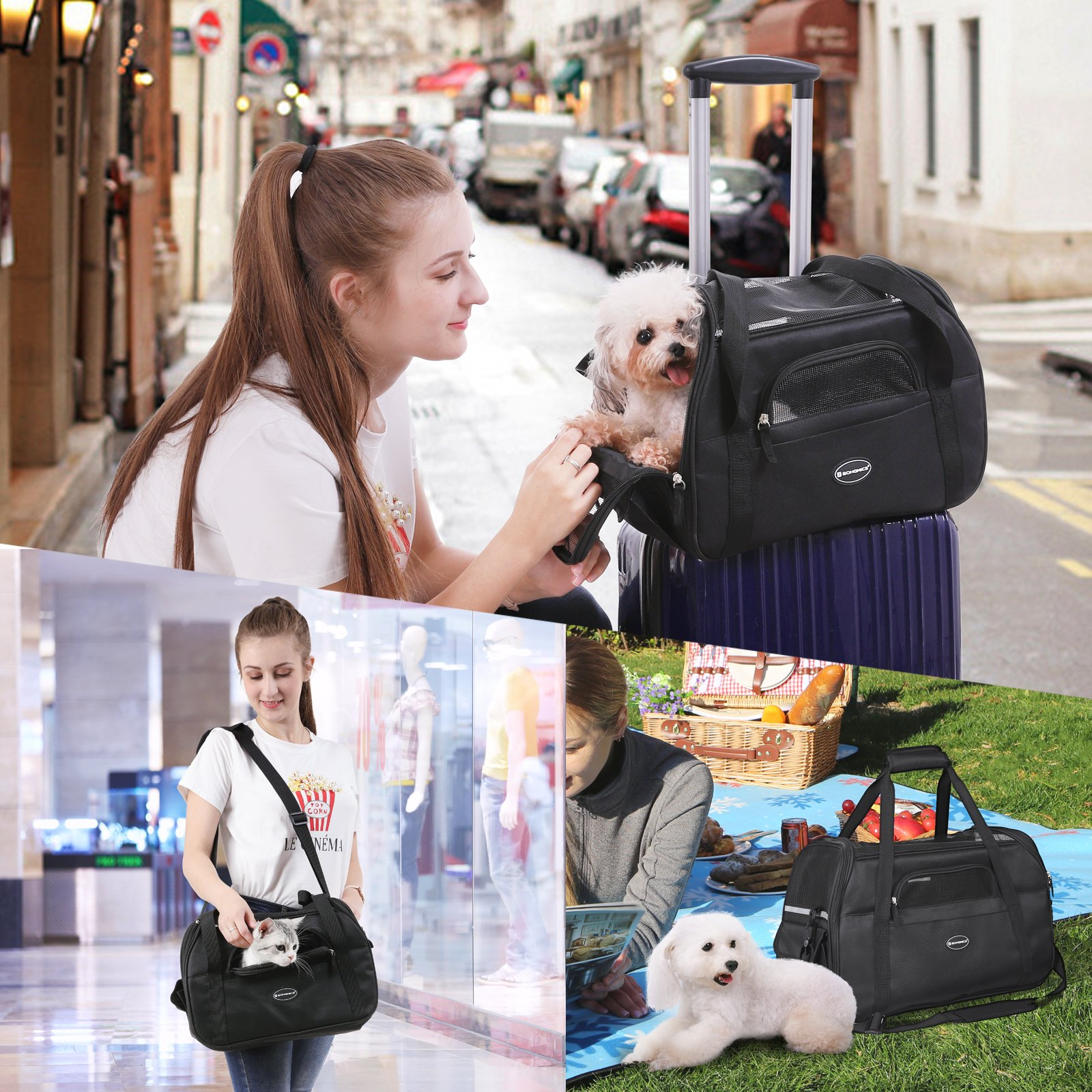 SONGMICS Foldable Pet Carrier, Soft-Sided, for Travel, Airline Approved, Small Dog/Cat Bags with Shoulder Strap, Garbage Bag Included UPDC42BK by SONGMICS (Image #7)