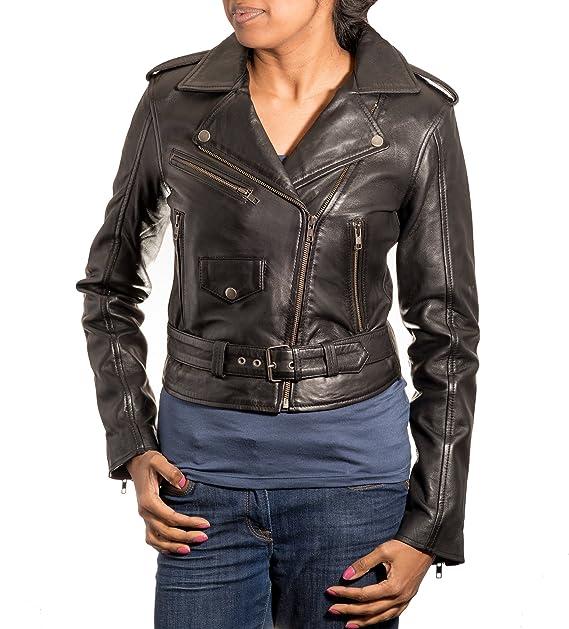 El cuero retro de las mujeres enrarece la chaqueta envuelta estilo retro del motorista de Brando