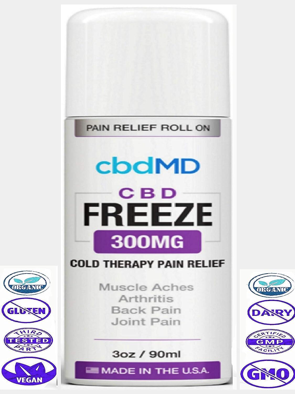 300 mg de aceite de cáñamo orgánico congelado ROLLO EN Alivio del dolor Terapia tópica fría Loción Articulaciones veganas Estres del humor de la piel
