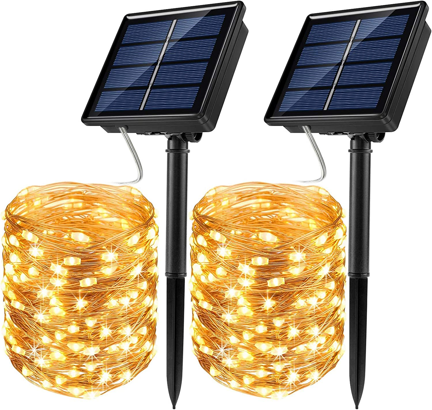 JosMega Solar Fairy String Lights 2 Pack 33 ft 100 LED Outdoor Waterproof 8 Modes Twinkle Upgraded Larger Solar Powered Panels Lights Silver Wire Solar Fairy String Lights Decoration