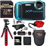 Fujifilm FinePix XP120 Waterproof Digital Camera Sky Blue, Polaroid 32GB SD Memory Card, Ritz Gear Flexi Tripod, Ritz Gear Point and Shoot Camera Case, Floating Strap,Cleaning Kit and Accessory Bundle