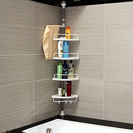 Telescopic Corner Shelf Unit Shower Caddy Organiser Kitchen Bathroom Towel Rack