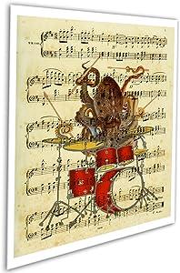 Octopus Playing Drums - Unframed Art Print #Bookart_Octopus_Drummer - Novelty Gift for Drummer