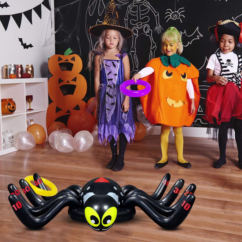9 PCS Yojoloin Globo Inflable Octopus Spider Rings Toss Juego Juguetes Halloween Decoraci/ón navide/ña Divertidos Juguetes Deportivos para ni/ños Suministros para Fiestas Juegos de Interior y Exterior