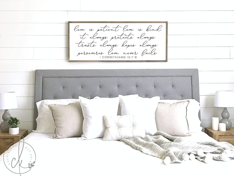 Celycasy Bedroom Wall Decor Love Is Patient Love Is Kind Sign Master Bedroom Sign Bedroom Sign 1 Corinthians 13 7 8 Home Decor Decorative Signs Semo Es