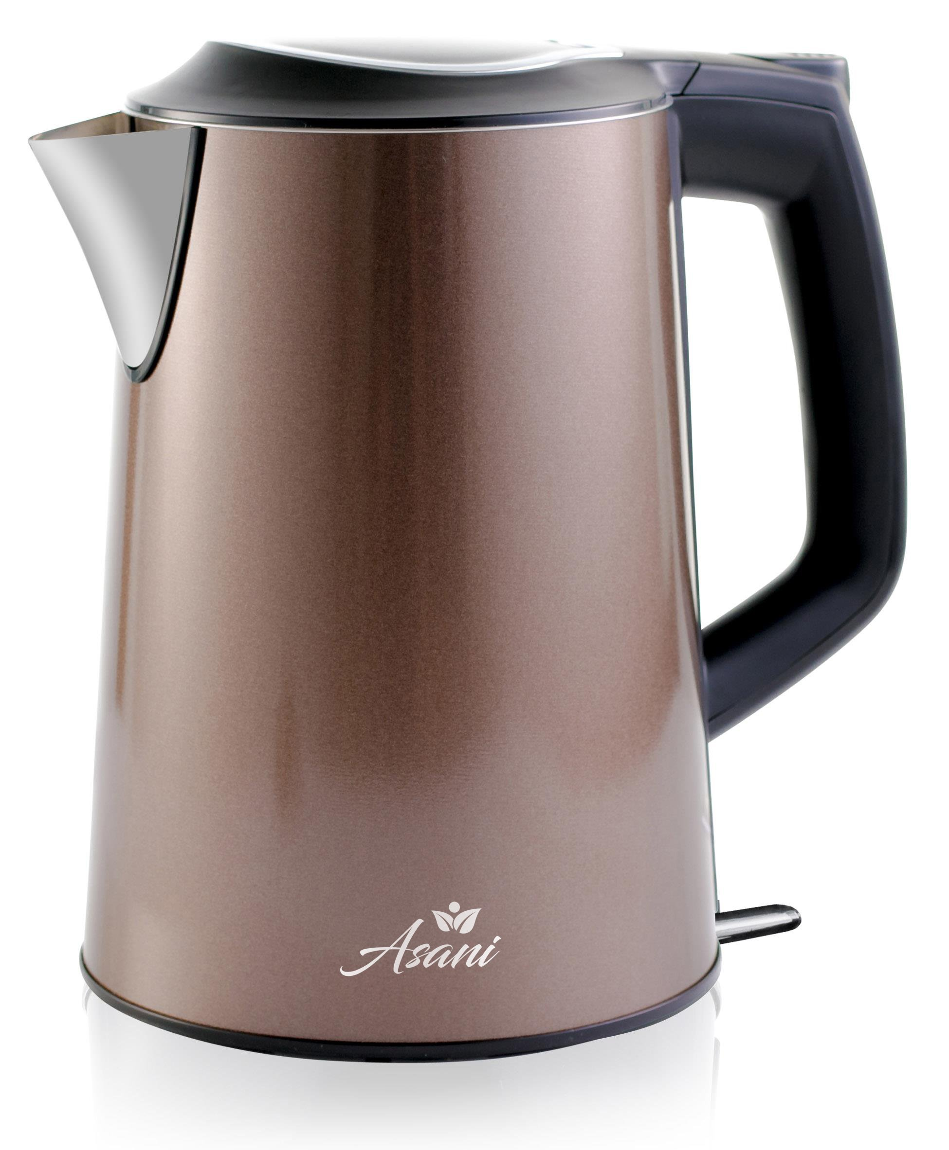 Double Wall Safe Touch Electric Kettle | Stainless Steel with 100% Plastic-Free Interior | Cordless Electronic Hot Water Heater Pot with Cool Touch, Boil Dry Protection & More(1.9Qrt/1.8L)(Grey) by Asani