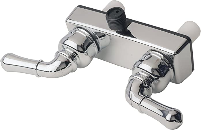 Builders Shoppe 3220CP//4120CP RV//Motorhome Replacement Non-Metallic Two Handle Shower Faucet Valve Diverter with Matching Hand Held Shower Set Chrome Finish