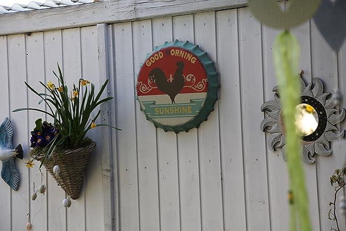 Signo de pared Signo de chapa Tapa de botella Ø 35,5 cm Decoración de pared Letrero de letras Signo de decoración de pared Homedeko (Buenos días)