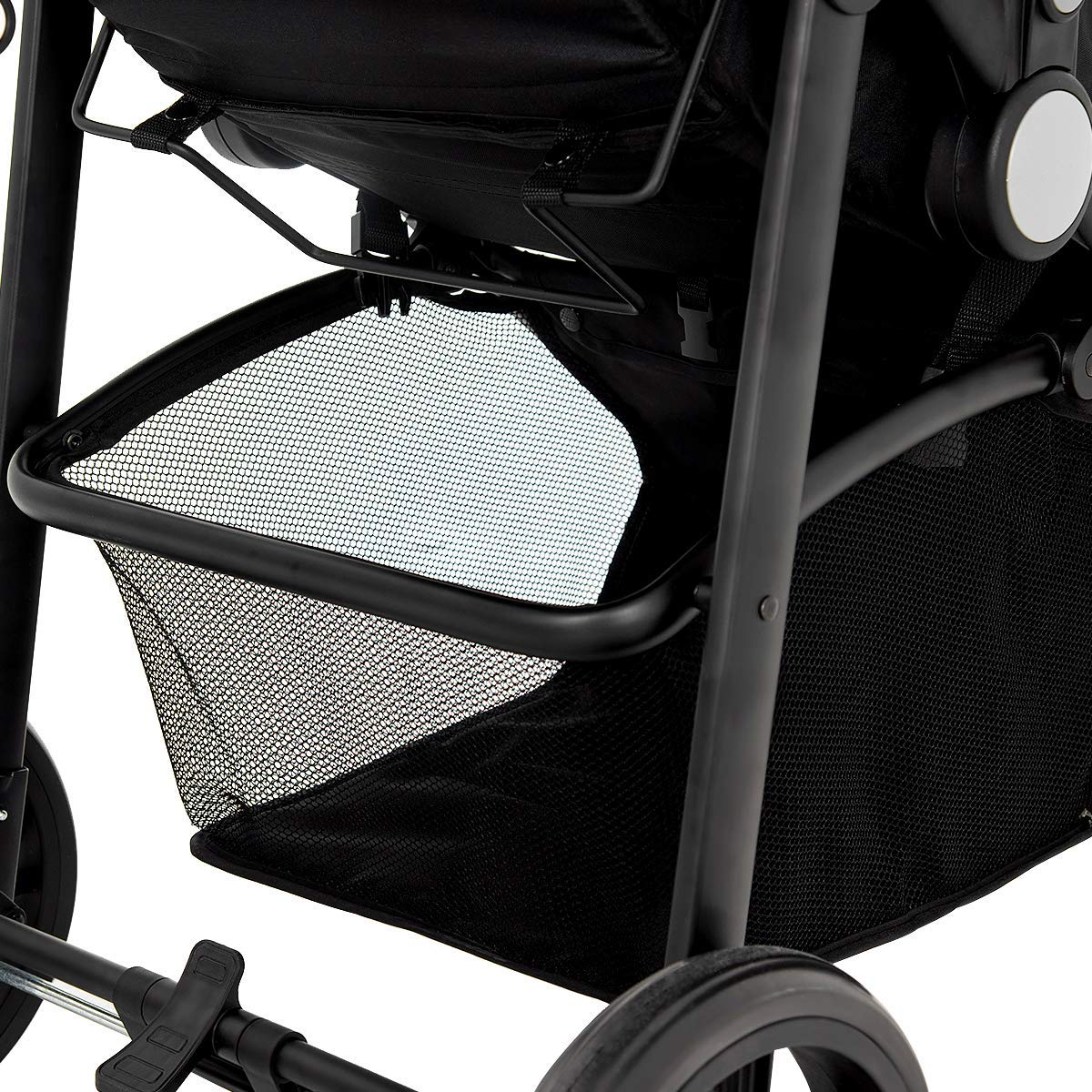 BABY JOY Baby Stroller, 2 in 1 Convertible Carriage Bassinet to Stroller, Pushchair with Foot Cover, Cup Holder, Large Storage Space, Wheels Suspension, 5-Point Harness, Deluxe Black by BABY JOY (Image #8)