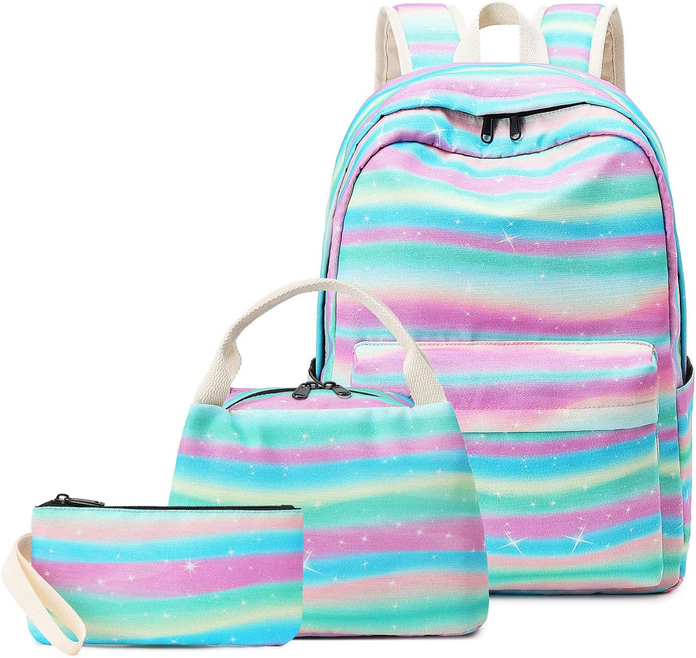 "Pawsky School Backpack Set, Canvas Girls Bookbag 15"" Laptop Backpack Daypack Kids School Bag with Lunch Bag Pencil Case, Rainbow"