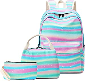 """Pawsky School Backpack Set, Canvas Girls Bookbag 15"""" Laptop Backpack Daypack Kids School Bag with Lunch Bag Pencil Case, Rainbow"""