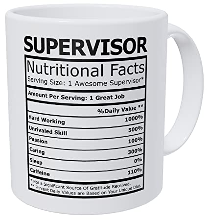 37a18d431e8 Image Unavailable. Image not available for. Color: Wampumtuk Supervisor  Nutritional Facts Funny Coffee Mug 11 Ounces Inspirational And Motivational