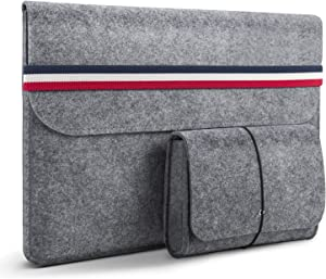"HOMIEE MacBook 13 Sleeve 13.3 Inch Felt Laptop Sleeve for 2016-2019 MacBook Pro, 2017-2019 MacBook Air, 12.9"" iPad Pro, Dell XPS 13, Lenovo Yoga 13, Surface Pro & Other Ultra Slim Notebook, Light Gray"