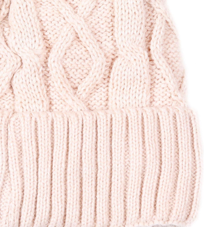 LEIDAI Womens Knit Winter Beanie Hat Faux Fur Pom Pom Bobble Hat Beanie for Girls /…