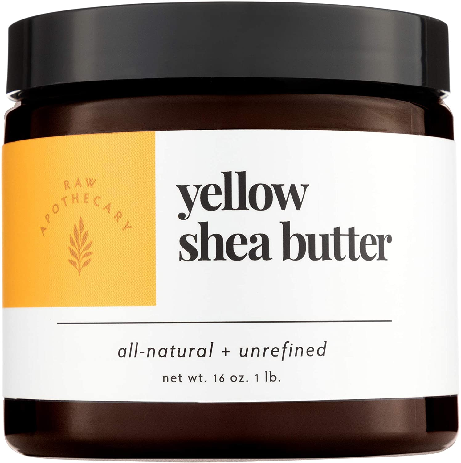 Yellow Shea Butter, 100% All Natural by Raw Apothecary- Top-Grade, Unrefined and Additive Free Yellow Butter (1 Pound) 1LBYSHEAJAR
