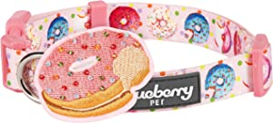 Blueberry Pet 9 Patterns Sweet Tooth Donut Designer Adjustable Dog Collar in Baby Pink with Decoration, Small, Neck 12