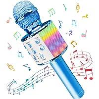 Micrófono Inalámbricos Karaoke, Microfono Niños Bluetooth Portátil con Altavoz y Luces LED, para KTV Canta Partido…