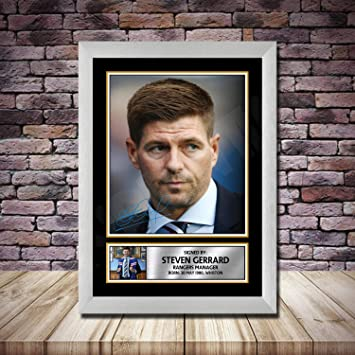 Framed Steven Gerrard Signed Photo Mount Rangers New Manager Autograph