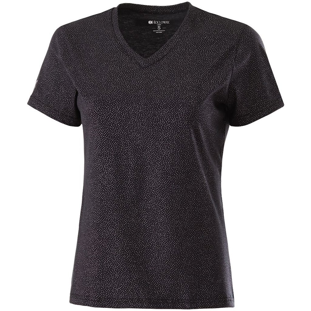Holloway Ladies Semi-Fitted Glimmer Shirt (X-Small, Black Sparkle)