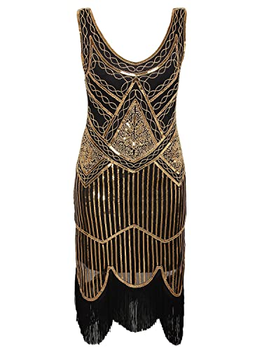 Roaring 20s Costumes- Flapper Costumes, Gangster Costumes Vijiv Womens 1920s Gastby Inspired Sequined Embellished Fringed Flapper Dress $35.99 AT vintagedancer.com