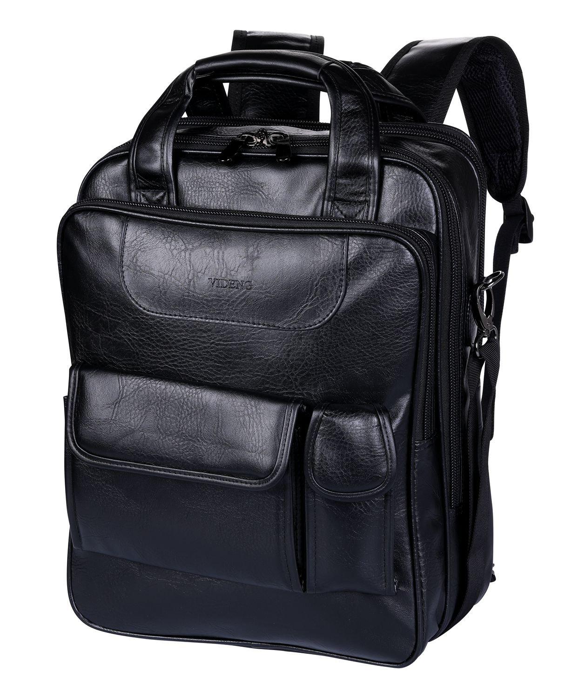 Leather Laptop Backpack 15.6 Inch, VIDENG Multifunctional Business Handle Bag, Classic Vintage Cross body Business Messenger Shoulder Bag for 13 15 inch Macbook Laptop Father's Day Gift (Black-SV6)