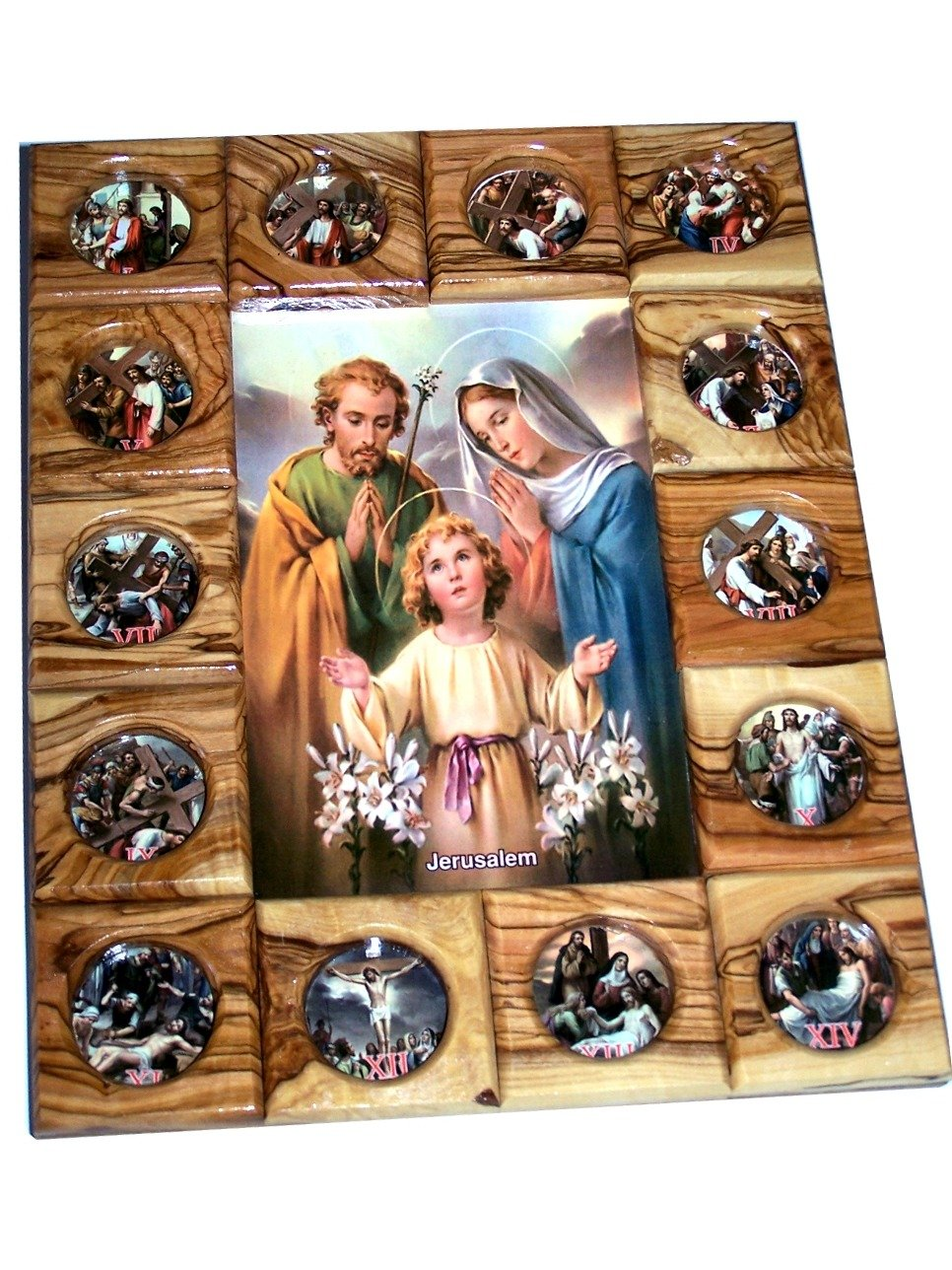 Holy Family with Stations of The Cross Icon Plaque All in Olive Wood from Bethlehem 29 x 24 cm or 11.5 x 9.5 inches